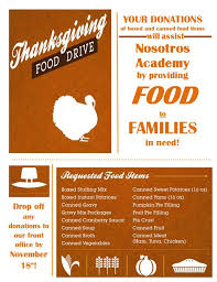 thanksgiving food drive nosotros academy