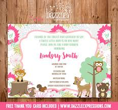 woodland baby shower invitations printable woodland girl baby shower invitation forest animals