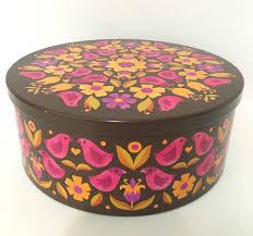 nice rare vintage danish ira denmark lovebird tin canister mid
