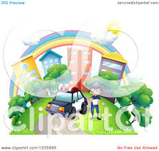 cartoon of a police man by his car in a city park under a rainbow