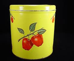 apple kitchen canisters 1930 s decoware apples canister vtg kitchen rd ylw grn