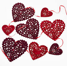 flocked red and burgundy wedding and valentines heart bunting