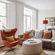 Rust Sofa Living Room Summer White Living Room Ideas With Orange Accents
