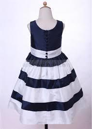 line navy blue ivory taffeta stripe flower dress