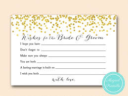 wishes for the and groom cards gold confetti bridal shower set magical printable