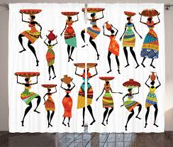 Home Decor Set by Tribal Curtains 2 Panels Set African Women Figures Home Decor Ebay