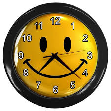 cool clock faces retro yellow smiley face print wall clock home decor gift time