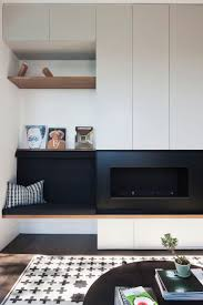 very clean lines simple wall panel detail modern inglenook
