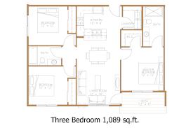 floor plans 3 bedroom units