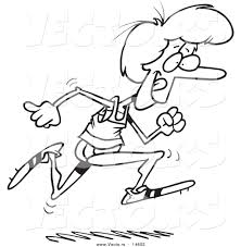 vector of a cartoon woman running track coloring page outline by