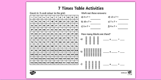 7 times table activity sheet six times table maths