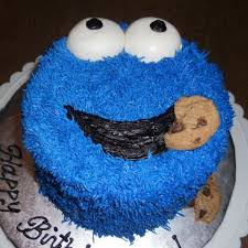 cookie monster birthday cake buttercream frosting with mmf eyes