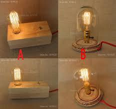 Filament Bulb Desk Lamp Best Quality American Rural Vintage E27 Solid Wood Lamp Holder