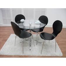 Black Oval Dining Room Table - chrome metal armless chairs using round cream wooden seat combined