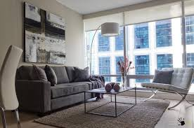 Small Arc Floor Lamp Modern Livng Room In A Small Apce With Gray Velvet Sofa And White