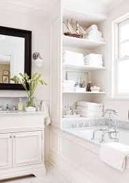 bathroom built in storage ideas installing beadboard wallpaper shelving bath and tubs
