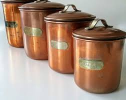 copper canister set kitchen copper canister etsy