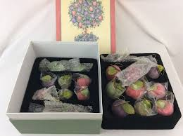 valerie parr hill sugar beaded fruit ornaments in storage box 22