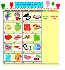 worksheet on healthy and junk food the best and most