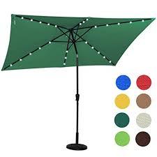 Lighted Patio Umbrella Solar Sundale Outdoor Rectangular Solar Powered 22 Led