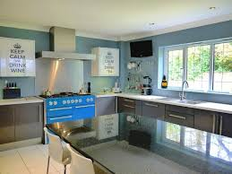 funky kitchen ideas blue range cooker white cabinet interior home page