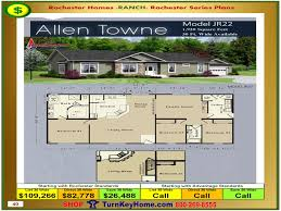 House Building Plans And Prices Allen Towne Rochester Modular Home Model Jr22 Ranch Plan Price