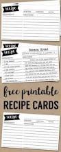 free recipe card template printable card templates printable
