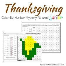 thanksgiving addition facts color by number printables worksheets