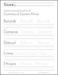 east africa handwriting worksheets student handouts