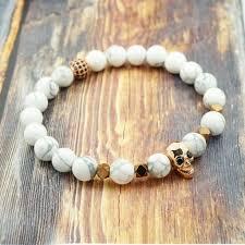 bracelet women images Gentstone men 39 s bracelet rose gold skull howlite pyrite and cz jpg