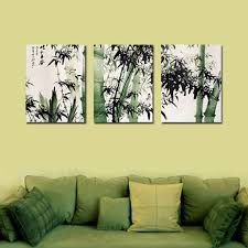 chinese decorations for home 3 panel traditional chinese ink painting on canvas bamboo print