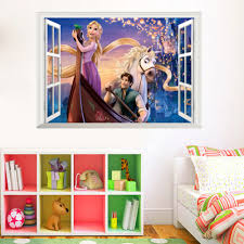 online get cheap playroom floor tiles aliexpress com alibaba group princess rapunzel wall stickers for kids rooms 3d false window removable baby girls home decor mural nursery playroom decal