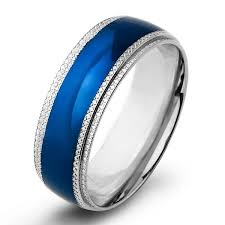 mens blue wedding bands blue plated stainless steel men s ridged edge wedding band free