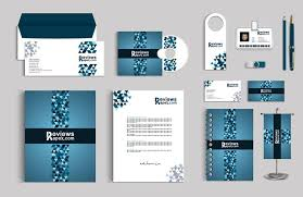 coorporate design blue corporate identity template with digital elements free