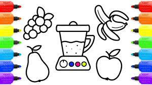 coloring book and drawing for kids how to draw juicer and fruit