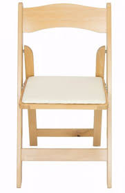 ivory chair wood folding wedding garden chair with ivory seat pad