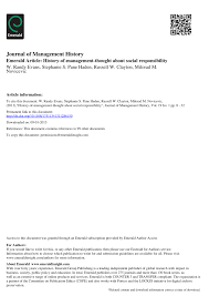 history of management thought about social responsibility pdf