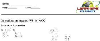 7 cbse integers printable worksheet test videos online study