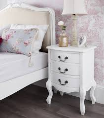 Shabby Chic Side Table Shabby Chic White 3 Drawer Bedside Table Bedroom Furniture Direct