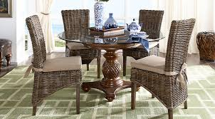 Outdoor Rattan Armchairs Cindy Crawford Home Key West Tobacco 5 Pc Round Dining Room With