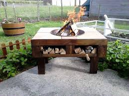Build Wooden Patio Table by Diy Pallet Fire Pit Table With Firewood Storage Pallet Fire Pit