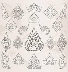 thai design sketch thai arts pattern and design elements vector image