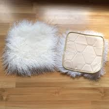 White Fur Cushions Long Wool Mongolian Fur Decorative Cushions Real Lambskin Cushion