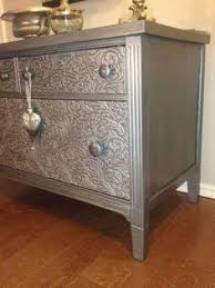 Painting Over Textured Wallpaper - put embossed wallpaper border over the drawer fronts and then