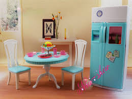 Dollhouse Dining Room Furniture Dinner Tea Table Chair Refrigerator Set Dollhouse Dining Room