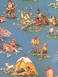 reversible vintage wrapping paper carnival nursery rhyme