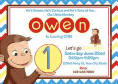 curious george birthday party invitation square envelope and