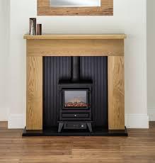 oak fireplace black electric stove fire oak surround suite