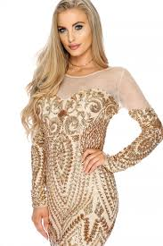 gold sheer sequin printed long sleeve bodycon prom dress