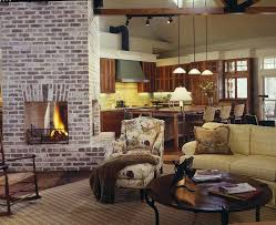 brick fireplace living room farmhouse with brick fireplace round